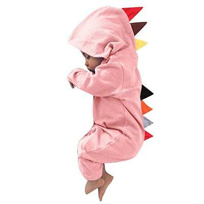 Lurryly Newborn Baby Boy Girl Dinosaur Hooded Romper Jumpsuit Outfits Clothes