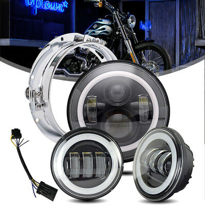 """7"""" LED Projector Daymaker Headlight + 4.5""""Passing Lights For Harley Touring"""
