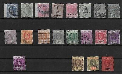 3474: Ceylon; selection of 20 used stamps. Victoria, Edward, George. 1866-1921