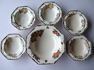 Antique Royal Doulton Large Desert Bowl And 5 Small Bowls-Please Read Notes