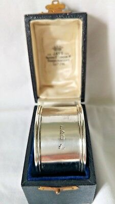 Hallmarked Chester 1911 Substantial 23.7grm Silver Napkin Ring In Original Box.