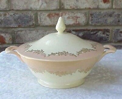 Vintage Casserole Dish Edwin M. Knowles Semi Vitrious Pink Cream Gold Lidded