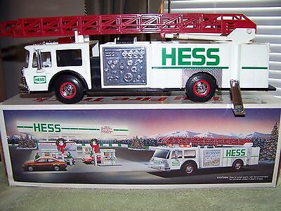 1989 HESS White Fire Truck Bank (MINT in Box)