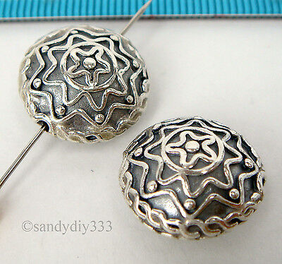 1x OXIDIZED STERLING SILVER ROUND FLOWER OVAL FOCAL SPACER BEAD 16.2mm #1644