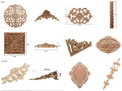 European Style Wooden Carved Floral Pattern Decorative Unpainted Applique Decal