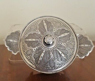 Antique Islamic Asian Malaysia Singaporean Hallmarked Solid Silver Trinket Box