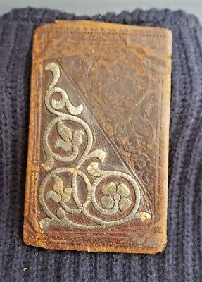 Antique Islamic Persian Ottoman Turkish Leather & Metal Embroidery Wallet 1920's
