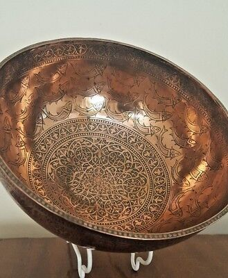 Antique Islamic Persian Indian Turkimenstan Kashmir Hand Chased Copper Bowl