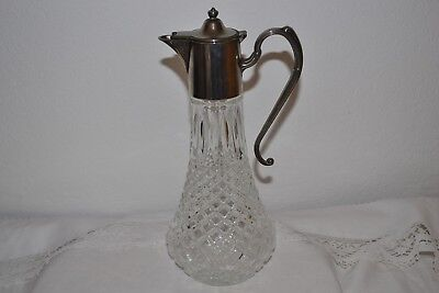 Vintage Silver Plated and Glass Claret Decanter