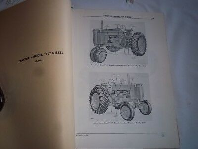 Vtg Original 1950's JOHN DEERE DEALER Mdl 70 DIESEL Tractor Parts Catalog 1954