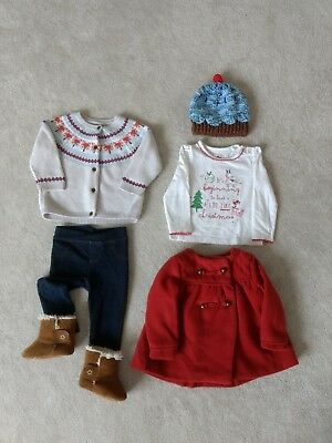 Baby Girl Winter clothes Christmas Bundle. 6-9 Months. Baby Booties. M&S