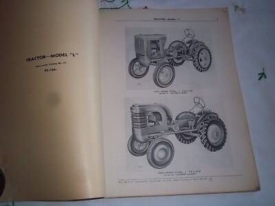 "Vtg Original 1950s JOHN DEERE DEALER Model ""L"" Tractor Parts Catalog 1951"