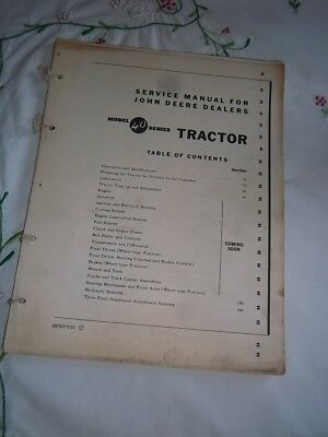 Vtg Original 1950s JOHN DEERE DEALER Model 40 Series TRACTOR Service Manual 1953