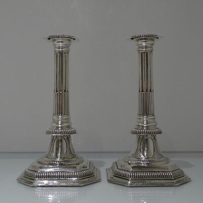 19th Century Antique Victorian Sterling Silver Pair Candlesticks London 1889