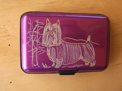 Silky Terrier - Hand engraved  Stainless Credit Card Wallet by Ingrid