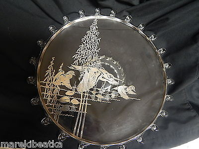 Vtg Clear Glass Plate, Server With Sterling Silveroverlay Duck,  Heron Design #1