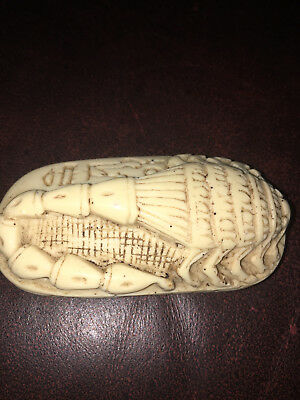 UNIQUE ANCIENT EGYPTIAN ANTIQUE Scarab Carved Stone SCORPION W/ HIEROGLYPHS RARE