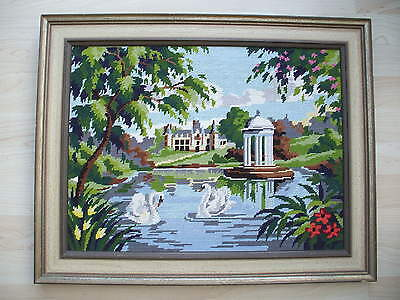 Framed Hand Stitched Castle-Temple and Lake Woollen Tapestry 61 x 48.5 cm