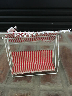 Dollhouse Miniature Vintage White Metal, Red White Covered Porch Patio Swing