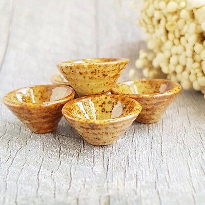 5x Dollhouse Miniature Ceramic Brown Japanese Ramen Soup Bowl 1:12 Scale Model