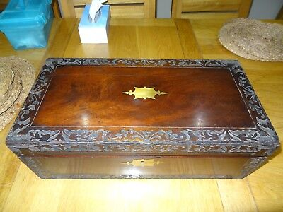 Mahogany Antique writing slope,Victorian  c1895. red leather, brass fittings