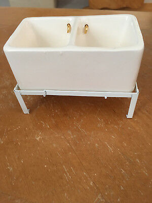 Dollhouse Miniature CERAMIC DOUBLE SINK with white metal stand