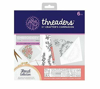 Threaders Embroidery transfer Sheets, Floral, Transparent