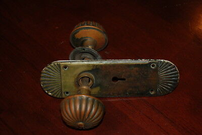 Antique Brass Door Knob Set with Plate
