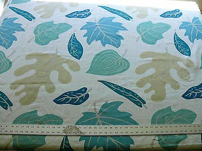 Clarence House Landis Linen Foliage Print Blue Green Grey Tan Msrp $100+ #1432