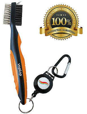 Golf Brush and Club Groove Cleaner - Easily Attaches to Golf Bag - Orange