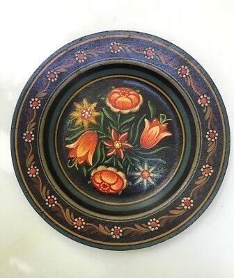 VTG hand painted tole Pennsylvania dutch floral primitive painting country plate