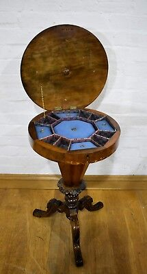 Antique Victorian inlayed Walnut trumpet sewing table - work box