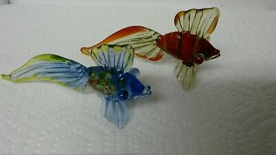 2 - Hand Blown Art Glass Bug Eyed Angel Fish Figurines -LOOK