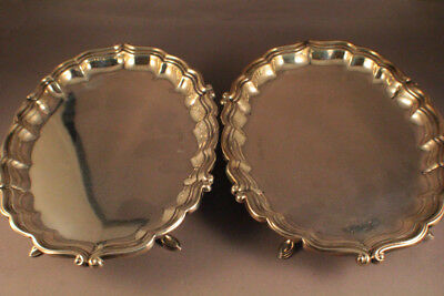FANTASTIC SHEFFIELD STERLING SILVER JOSEPH ROGERS PAIR OF CARD TRAYS c1904-1906