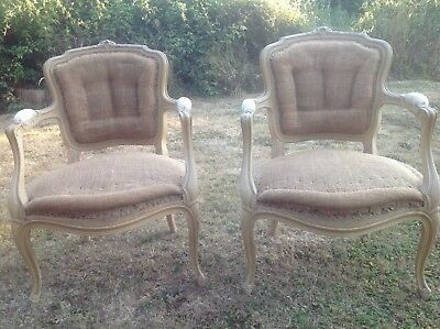 Pair Of Antique French Chairs Salon Bedroom Occasional Trad. Upholstered