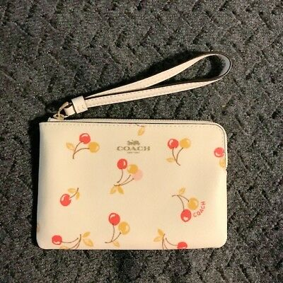 Coach Wristlet Authentic Corner Zip Cherry Print Change Purse NWT Girly Gift