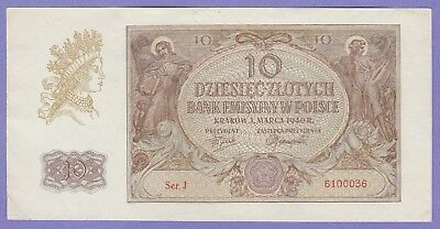 Poland 10 Zlotych Banknote,1940 About Uncirculated Condition Cat#94-00036
