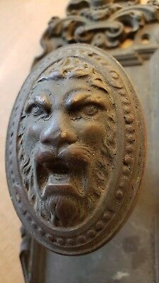 Nice Heavy Antique Bronze Lion Head Doorknob And Backplate  Original Finish