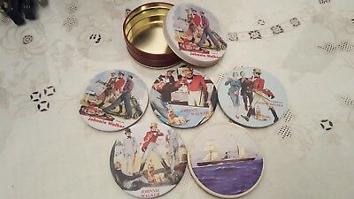Johnnie Walker Scotch Whisky Promotional Set of 5 Coasters in Tin Case 1980s
