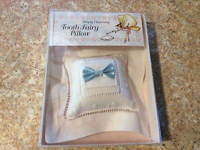Simply Charming~Tooth Fairy Pillow~White With Blue Bow~Made in USA~New~5x5~NEW