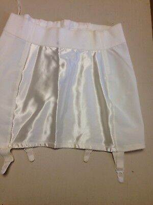 Sarong style#214 open bottom girdle size 34 in white 4 attached garters NWOT