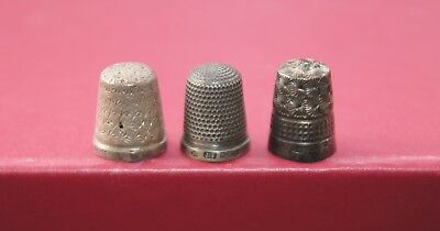 3x Hallmarked Silver Thimbles The Spa Henry Griffith James Fenton Charles Horner