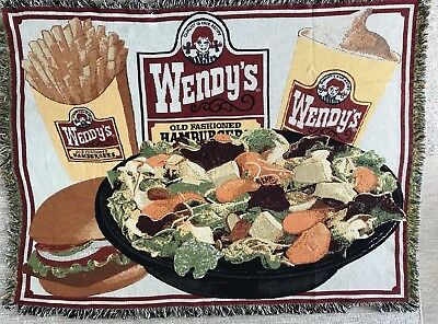 Wendys Hamburgers Fast Food 53 x 65 Woven Blanket Throw Tapestry RARE 2 OF 6