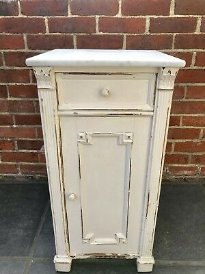 French Vintage Art Deco Bedside Cabinet With Marble Top Rustic Time Worn