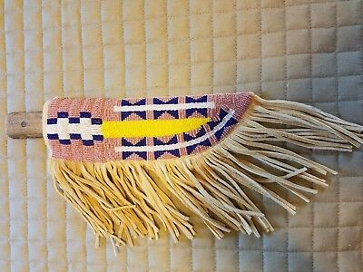 Northern Plains Beaded Knife Sheath With Antique Knife