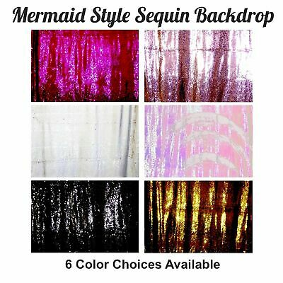 8x10 FT Sequin Backdrop Mermaid Reversible Photo Booth Background Studio Wedding