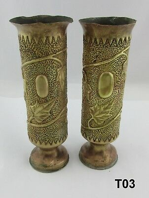 "Pair of Antique WWI Trench Art Vases Marked ""75 DEC D268L 16 D"" ?? 11 1/4"" T03"