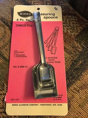 MIRRO Aluminum Vintage Nesting Measuring Spoons with Keeper Ring NEW Sealed