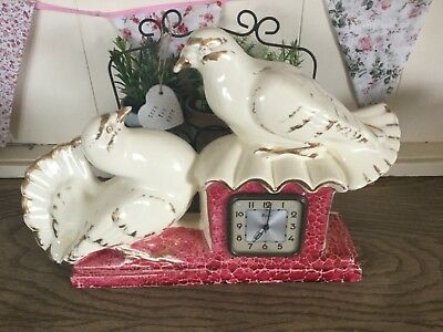 """French Art Deco Pair Of Doves Ceramic Scout Clock 10"""" High X 15"""" Long"""