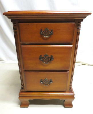 Pair 2 Antique Kling Furniture Birch Wood Night Stands Bedside Cabinets Mahogany